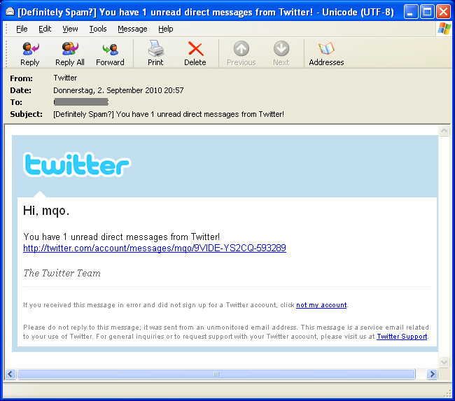 Twitter phishing email example